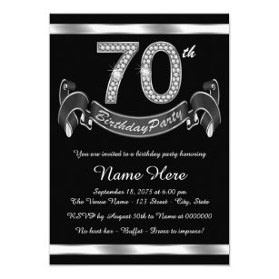 Silver 70th Birthday Party Invitation