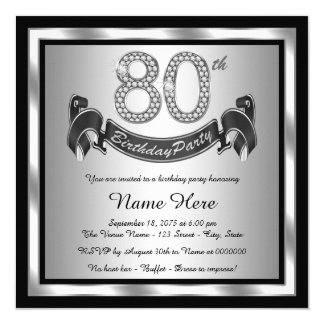 Silver 80th Birthday Party 13 Cm X 13 Cm Square Invitation Card