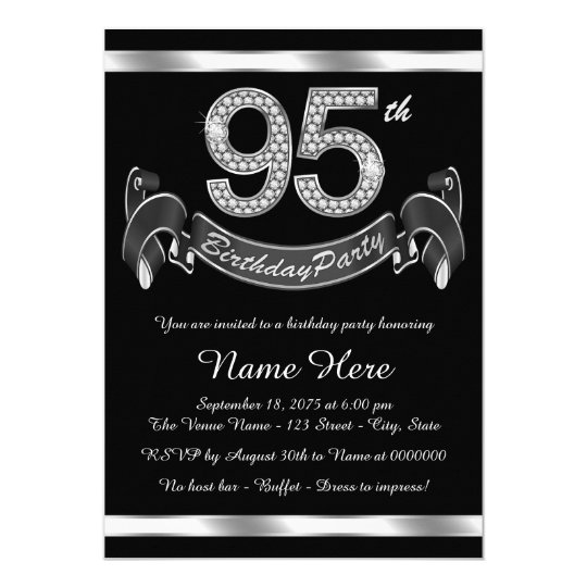 Silver 95th Birthday Party Invitation