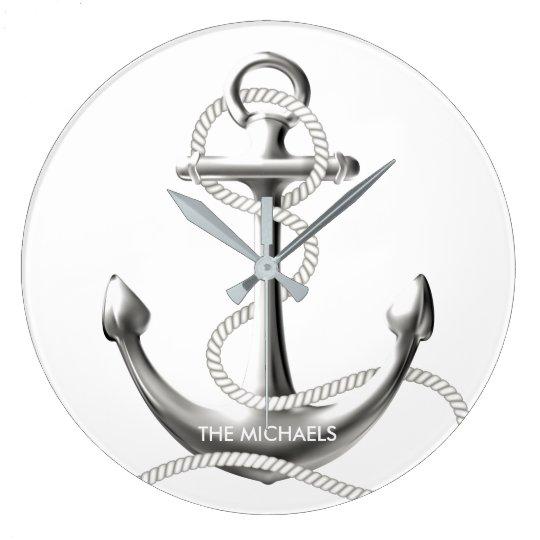 Silver anchor nautical wall clock Personalised