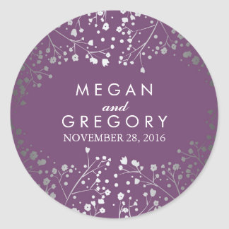 Silver and Amethyst Baby's Breath Wedding Classic Round Sticker