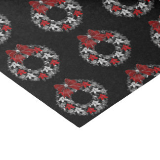 Silver and Back with Red Holiday Wreath Tissue Paper