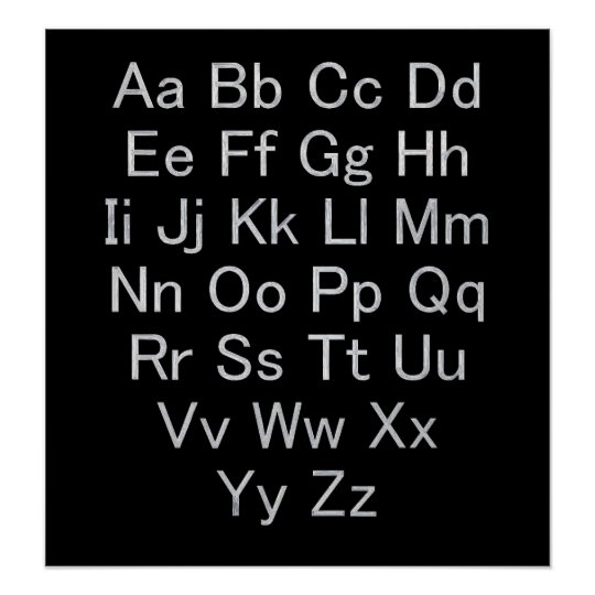 Silver and Black Alphabet Chart