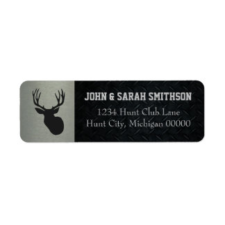 Silver and Black Antlered Deer Return Address