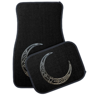 Silver And Black Celtic Crescent Moon Car Mat