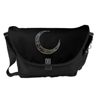 Silver And Black Celtic Crescent Moon Courier Bags
