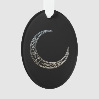 Silver And Black Celtic Crescent Moon Ornament