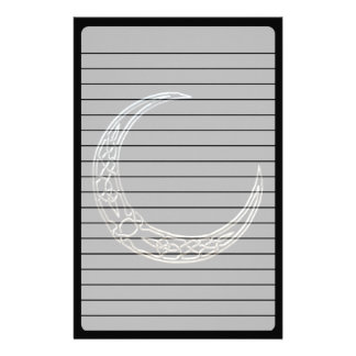 Silver And Black Celtic Crescent Moon Personalized Stationery