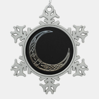 Silver And Black Celtic Crescent Moon Pewter Snowflake Decoration