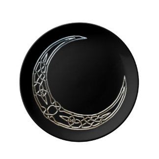 Silver And Black Celtic Crescent Moon Plate
