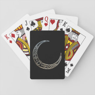 Silver And Black Celtic Crescent Moon Poker Deck
