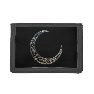 Silver And Black Celtic Crescent Moon Trifold Wallets