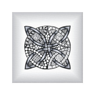 Silver and Black Celtic Knot Original Stretched Canvas Prints