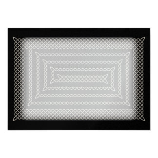 Silver And Black Celtic Rectangular Spiral 13 Cm X 18 Cm Invitation Card