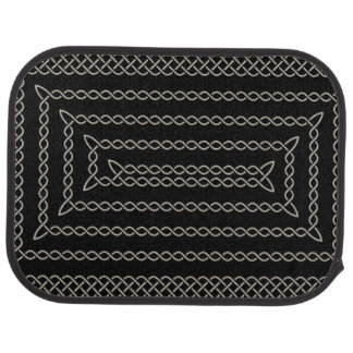 Silver And Black Celtic Rectangular Spiral Car Mat