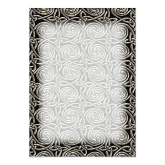 Silver And Black Celtic Spiral Knots Pattern 13 Cm X 18 Cm Invitation Card