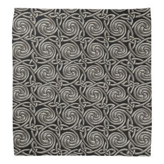 Silver And Black Celtic Spiral Knots Pattern Bandana
