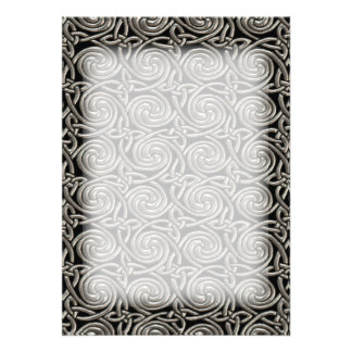 Silver And Black Celtic Spiral Knots Pattern Card