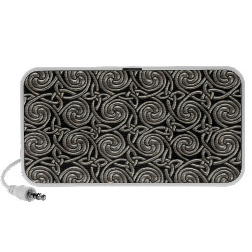 Silver And Black Celtic Spiral Knots Pattern Portable Speaker