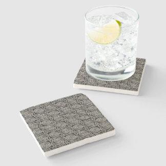 Silver And Black Celtic Spiral Knots Pattern Stone Beverage Coaster