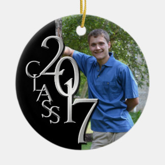 Silver and Black Class 2017 Graduation Photo Round Ceramic Decoration