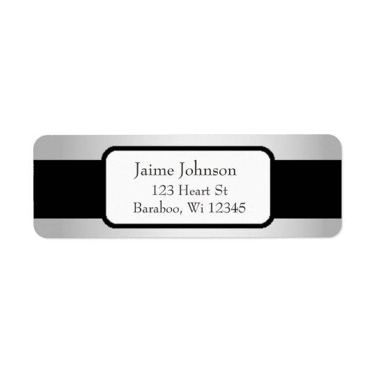 Silver and Black Classy  Return Address Sticker Return Address Label