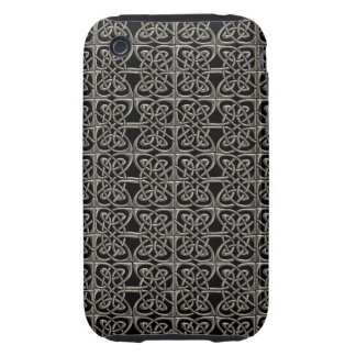 Silver And Black Connected Ovals Celtic Pattern iPhone 3 Tough Cover
