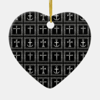 Silver and Black Cross Pattern Ceramic Heart Decoration