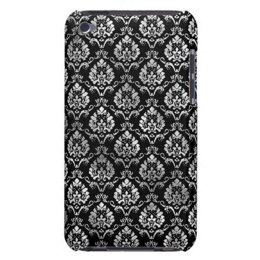 Silver and Black Damask iPod Touch Case-Mate Case
