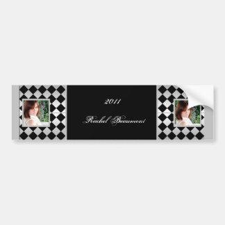 Silver and Black Diamond Tile Grad Wine Label Bumper Sticker