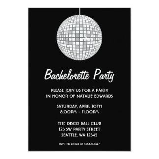 Silver and Black Disco Ball Bachelorette Party Card