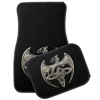 Silver And Black Dragon Trine Celtic Knots Art Car Mat