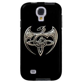 Silver And Black Dragon Trine Celtic Knots Art Galaxy S4 Case