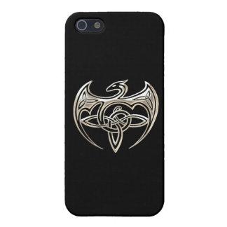 Silver And Black Dragon Trine Celtic Knots Art iPhone 5/5S Case