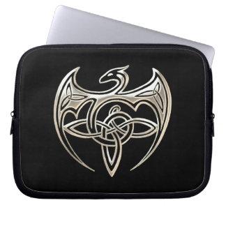 Silver And Black Dragon Trine Celtic Knots Art Laptop Sleeve
