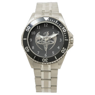 Silver And Black Dragon Trine Celtic Knots Art Watch