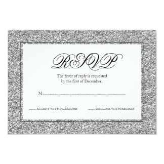 Silver and Black Faux Glitter RSVP Card