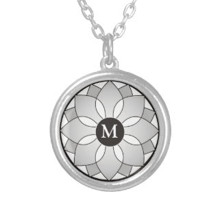Silver And Black Floral Framed Monogram Silver Plated Necklace