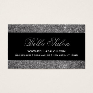 Silver and Black Glam Faux Glitter Business Card
