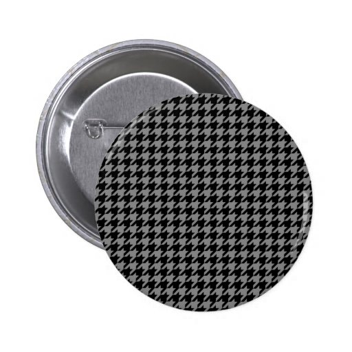 Silver and Black Houndstooth Button