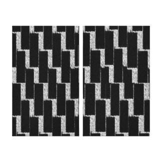 Silver and Black Illusion Stretched Canvas Print