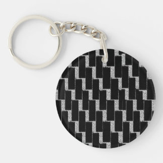Silver and Black Illusion Single-Sided Round Acrylic Key Ring