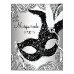 Silver and Black Mask Masquerade Party Custom Invitations