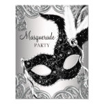 Silver and Black Mask Masquerade Party 11 Cm X 14 Cm Invitation Card