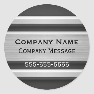 Silver and Black Metal Look Business Advertising Round Sticker