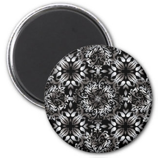 Silver and black modern floral 6 cm round magnet