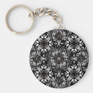 Silver and black modern floral basic round button key ring