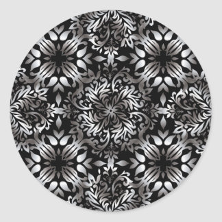 Silver and black modern floral classic round sticker