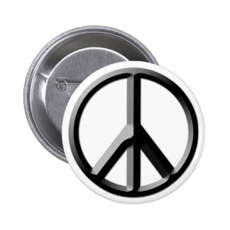 Silver and Black Peace Sign Button