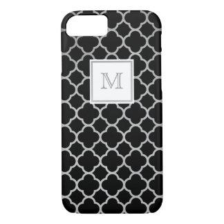 Silver and black quatrefoil pattern Phone case